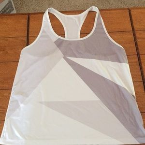 White and gray workout top